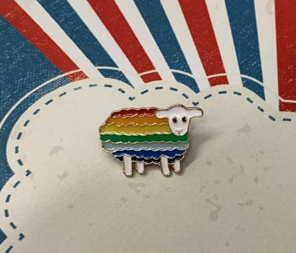 Rainbow sheep enamel pin