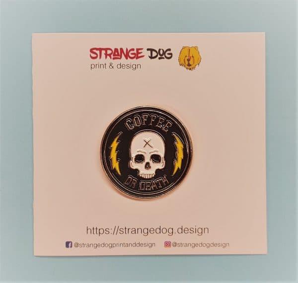 Coffee or Death enamel pin