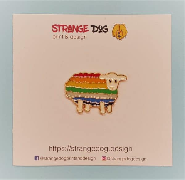 Rainbow sheep enamel pin